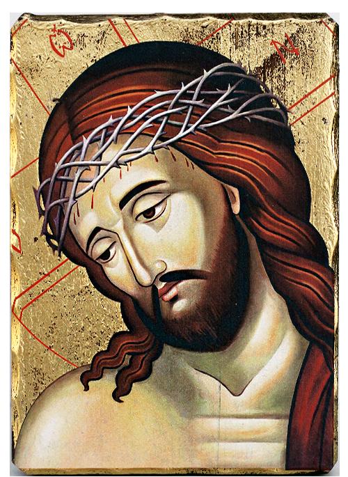 Икона на Исус Христос с трънен венец , луксозна, 162х225 мм