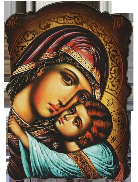 Магнит на Света Богородица с Младенеца - Елеуса - Умиление  със златно фолио