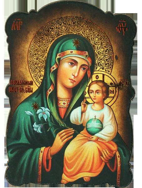 """Магнит на Пресвета Богородица """"Неувяхващ цвят"""" със златно фолио"""