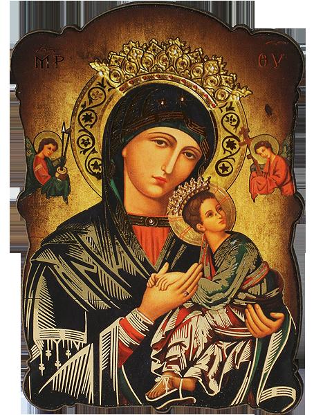 Магнит на Света Богородица с Младенеца със златно фолио