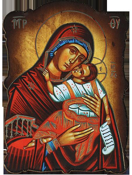 Магнит на Богородица с Младенеца със златно фолио