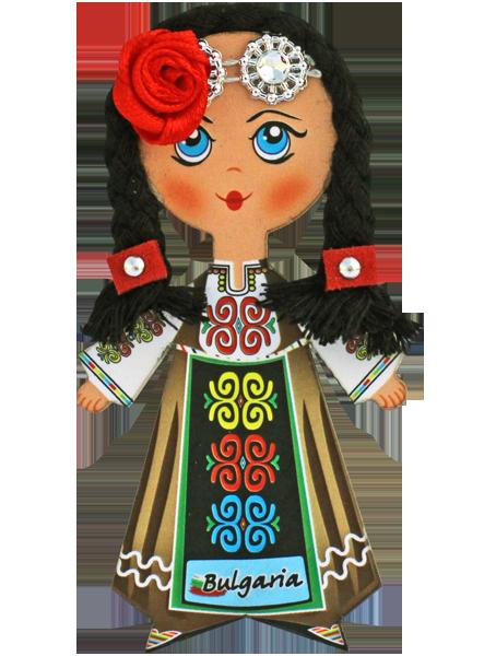 Магнит - кукла с фолклорен мотив, черна коса