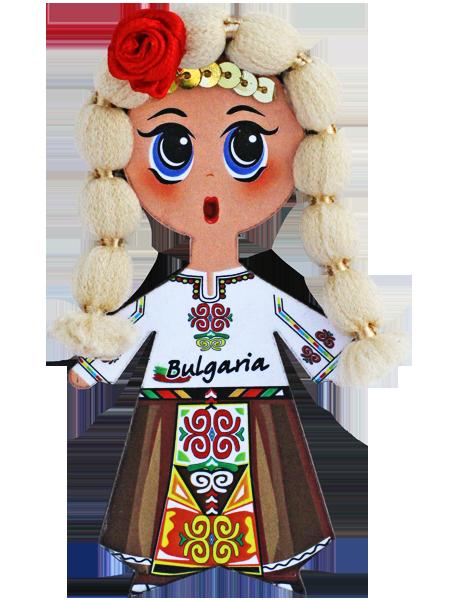 Магнит - кукла с фолклорен мотив, руса коса
