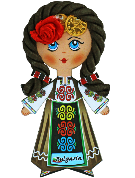 Магнит - кукла с фолклорен мотив, кестенява коса
