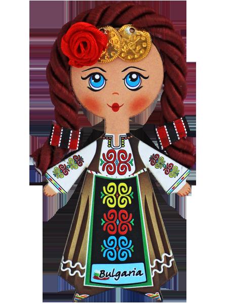 Магнит - кукла с фолклорен мотив, червена коса