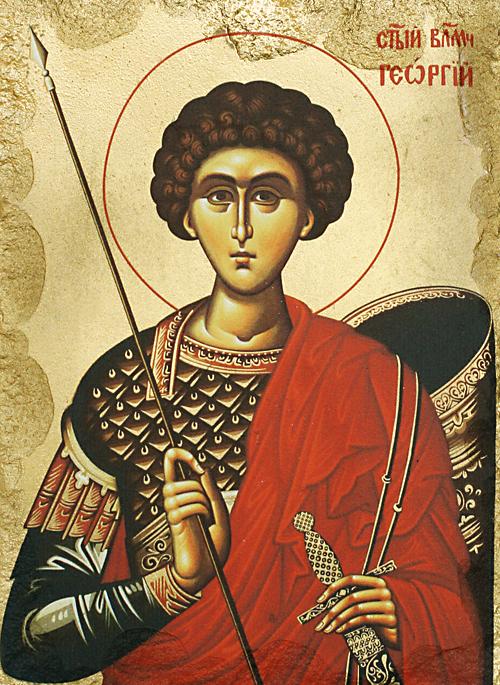 Репродукция на икона върху камък - Св. Георги Победоносец
