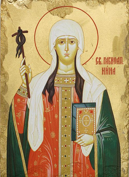 Репродукция на икона върху камък - Св. равноапостолна Нина