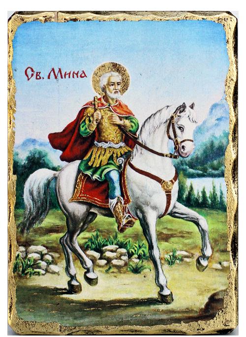 Икона репродукция на Свети Мина на кон